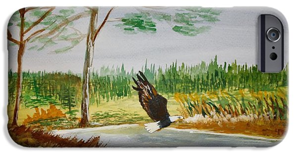 Eagle Pastels iPhone Cases - Mr.Eagle iPhone Case by Geraldine Smith