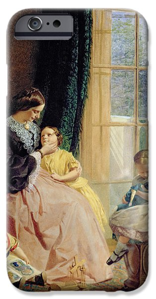Interior Scene iPhone Cases - Mrs Hicks Mary Rosa and Elgar iPhone Case by George Elgar Hicks