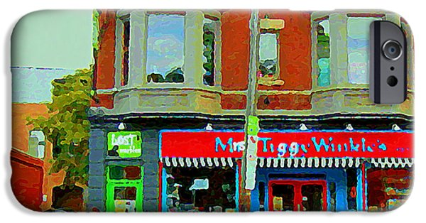 Toy Store Paintings iPhone Cases - Mrs Tiggy Winkles Toy Shop And Lost Marbles Richmond Rd The Glebe Paintings Ottawa Scenes C Spandau iPhone Case by Carole Spandau