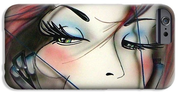 Airbrush iPhone Cases - Ms. Scalene W/Vignette iPhone Case by Thomas Pettit