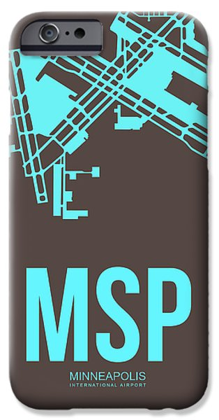 Minnesota Mixed Media iPhone Cases - MSP Minneapolis Airport Poster 1 iPhone Case by Naxart Studio
