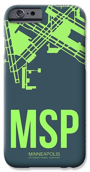 Minnesota iPhone Cases - MSP Minneapolis Airport Poster 2 iPhone Case by Naxart Studio