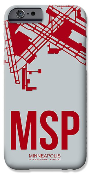 Minnesota iPhone Cases - MSP Minneapolis Airport Poster 3 iPhone Case by Naxart Studio