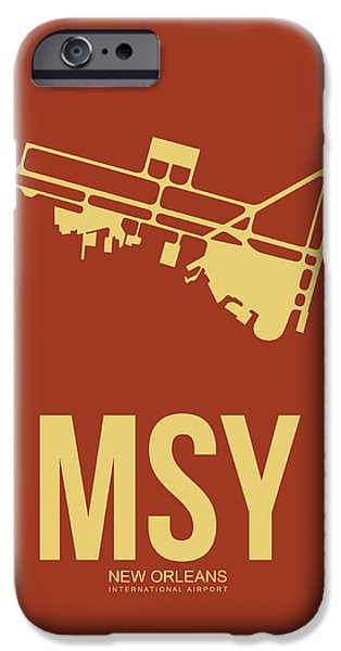 Town iPhone Cases - MSY New Orleans Airport Poster 1 iPhone Case by Naxart Studio
