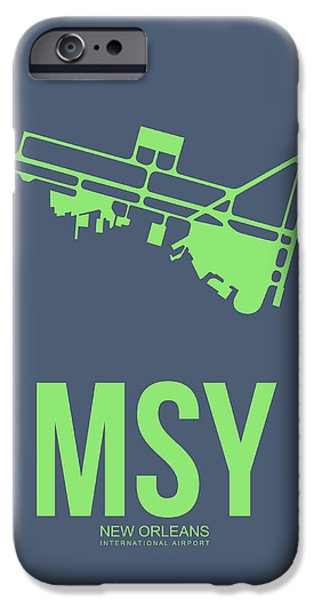 Town Mixed Media iPhone Cases - MSY New Orleans Airport Poster 2 iPhone Case by Naxart Studio