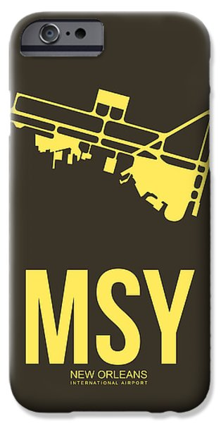 Town iPhone Cases - MSY New Orleans Airport Poster 3 iPhone Case by Naxart Studio