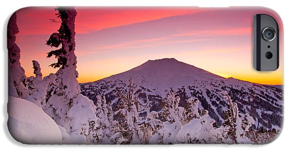 Ski Art iPhone Cases - Mt. Bachelor Winter Twilight iPhone Case by Kevin Desrosiers
