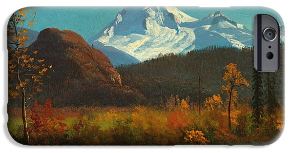 Steer Paintings iPhone Cases - Mt Baker from the Fraser River  iPhone Case by Celestial Images