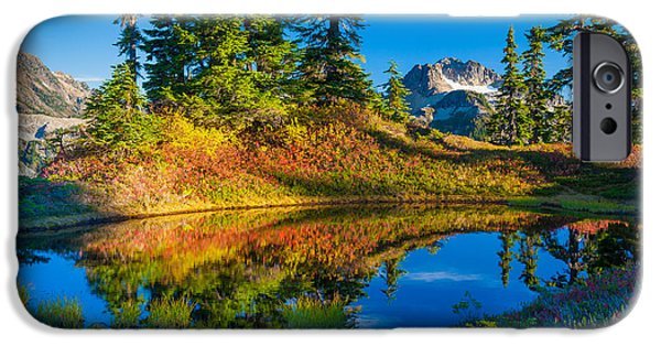 Park Scene iPhone Cases - Mt Baker Tarn in Fall iPhone Case by Inge Johnsson