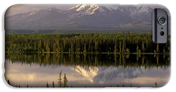 Willow Lake iPhone Cases - Mt Drum Over Willow Lake Wrangell-st iPhone Case by Calvin Hall