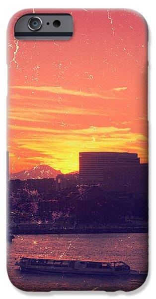 Mt Fuji at Sunset Over Yokohama Bay iPhone Case by Beverly Claire Kaiya