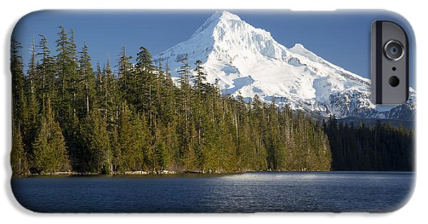 Snowy Day iPhone Cases - Mt Hood and Lost Lake iPhone Case by Brian Jannsen