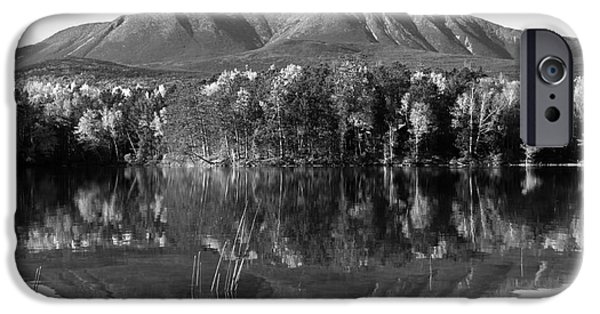 Maine Roads iPhone Cases - Mt Katahdin Black and White iPhone Case by Glenn Gordon