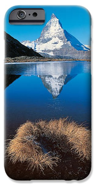 Reflections Of Sky In Water iPhone Cases - Mt Matterhorn & Riffel Lake Switzerland iPhone Case by Panoramic Images
