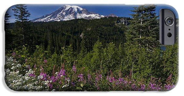 Volcano iPhone Cases - Mt. Rainier iPhone Case by Adam Romanowicz
