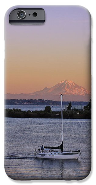Seattle iPhone Cases - Mt. Rainier Afterglow iPhone Case by Adam Romanowicz