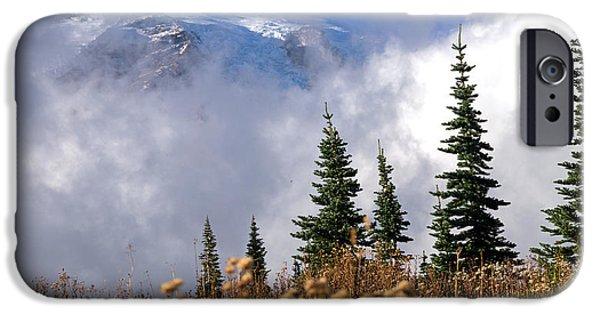 Scott Nelson Paintings iPhone Cases - Mt Rainier Cloud Meadow iPhone Case by Scott Nelson