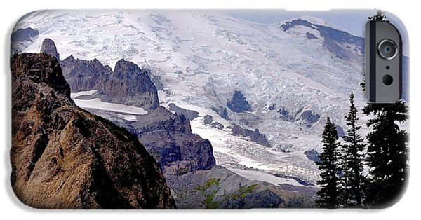 Scott Nelson Paintings iPhone Cases - Mt Rainier From Panhandle Gap iPhone Case by Scott Nelson