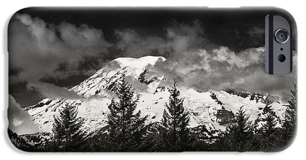 Snow iPhone Cases - Mt Rainier Panorama B W iPhone Case by Steve Gadomski