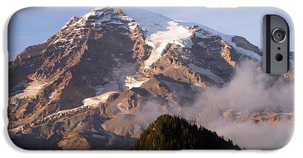 Scott Nelson Paintings iPhone Cases - Mt Rainier Sunset iPhone Case by Scott Nelson