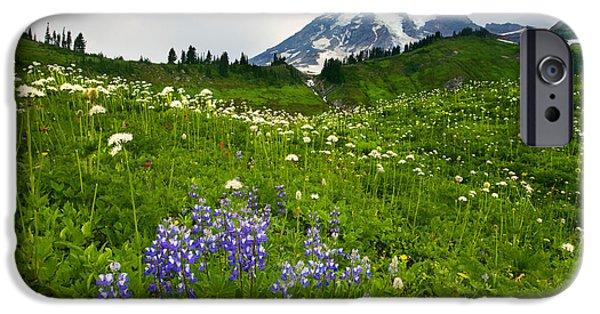 Mt Rainier iPhone Cases - Mt. Rainier Wildflower Profusion iPhone Case by Mike  Dawson