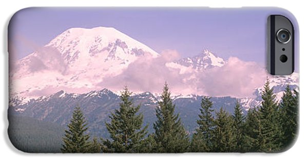 Snowy Day iPhone Cases - Mt Ranier Mt Ranier National Park Wa iPhone Case by Panoramic Images