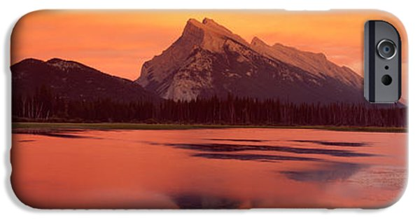 Mountain iPhone Cases - Mt Rundle & Vermillion Lakes Banff iPhone Case by Panoramic Images