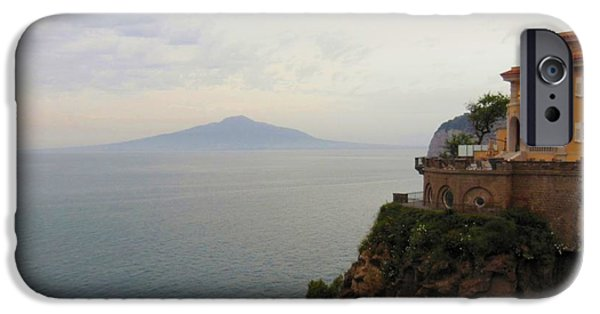 Mt iPhone Cases - Mt Vesuvius From Sorrento at Dusk iPhone Case by Marilyn Dunlap