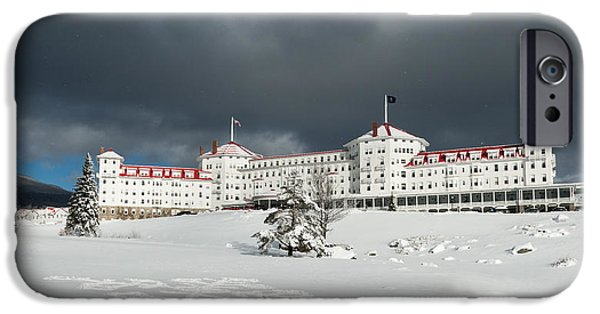 New England Snow Scene iPhone Cases - Mt. Washington Hotel iPhone Case by Joseph Smith