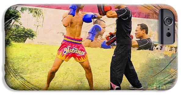 Muay Thai Digital iPhone Cases - Muay Thai  Kick Boxing iPhone Case by Ian Gledhill