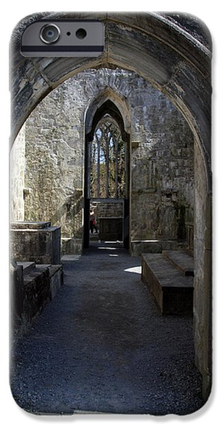 Stone Carving iPhone Cases - Muckross Abbey Doorway iPhone Case by Aidan Moran