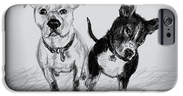 Boxer Digital Art iPhone Cases - Mud? What Mud? iPhone Case by Michelle Wolff