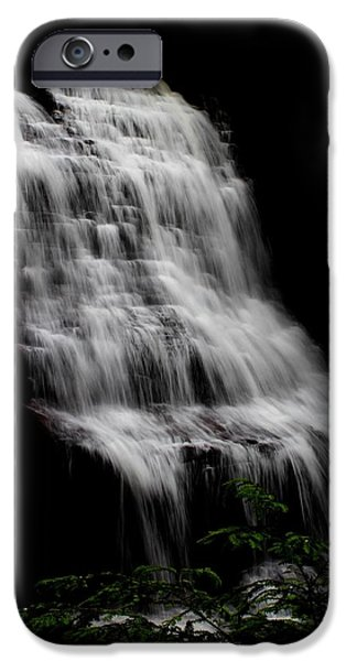 Creek Pyrography iPhone Cases - Muddy Creek Falls  iPhone Case by Justin Bittner