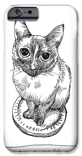 Cat Drawing Drawings iPhone Cases - Mudhoney Sits iPhone Case by Steve Hunter