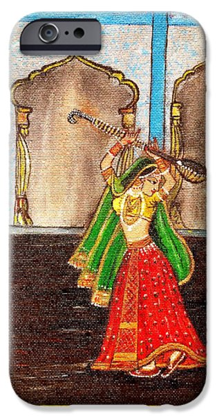 Dance Floor Paintings iPhone Cases - Mughal Dancer iPhone Case by Annie Malik