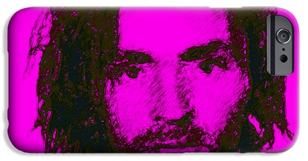 Alcatraz iPhone Cases - Mugshot Charles Manson m88 iPhone Case by Wingsdomain Art and Photography