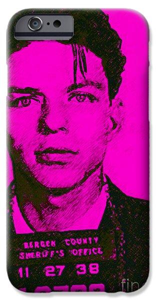Alcatraz iPhone Cases - Mugshot Frank Sinatra v1m80 iPhone Case by Wingsdomain Art and Photography