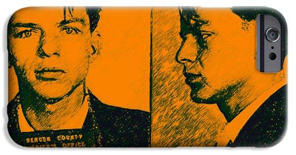 Alcatraz iPhone Cases - Mugshot Frank Sinatra v2p0 iPhone Case by Wingsdomain Art and Photography