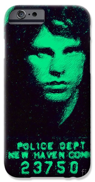 Mugshot Jim Morrison p128 iPhone Case by Wingsdomain Art and Photography