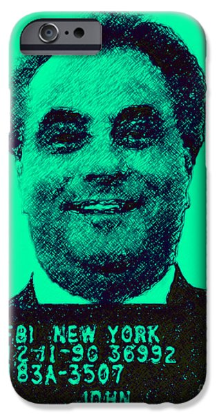 Alcatraz iPhone Cases - Mugshot John Gotti p128 iPhone Case by Wingsdomain Art and Photography