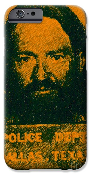 Wing Tong Digital iPhone Cases - Mugshot Willie Nelson p0 iPhone Case by Wingsdomain Art and Photography