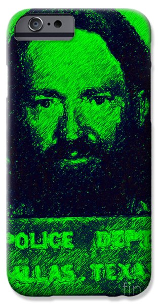 Mugshot Willie Nelson p88 iPhone Case by Wingsdomain Art and Photography