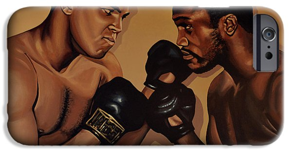 Idol Paintings iPhone Cases - Muhammad Ali and Joe Frazier iPhone Case by Paul Meijering
