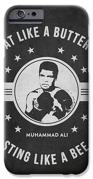 Boxer Digital iPhone Cases - Muhammad Ali - Dark iPhone Case by Aged Pixel