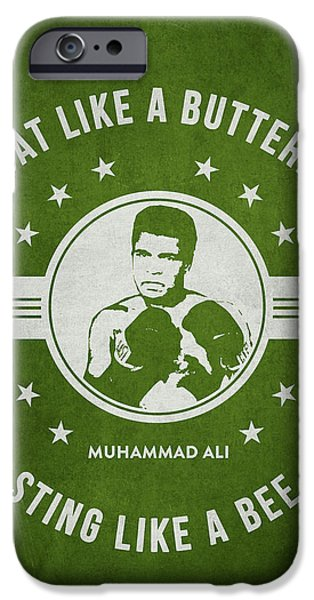 Boxer Digital iPhone Cases - Muhammad Ali - Green iPhone Case by Aged Pixel
