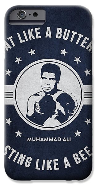 Heavyweight Digital Art iPhone Cases - Muhammad Ali - Navy Blue iPhone Case by Aged Pixel