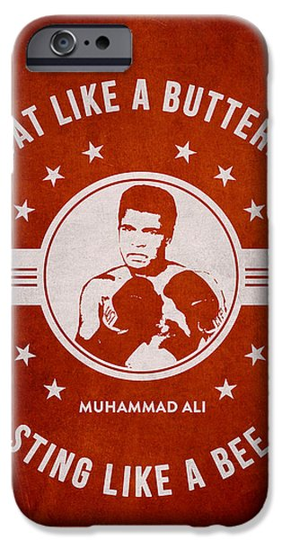 Boxer Digital iPhone Cases - Muhammad Ali - Red iPhone Case by Aged Pixel