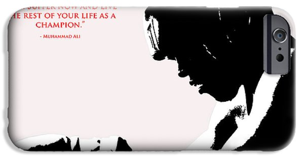 Olympic Gold Medalist iPhone Cases - Muhammad Ali Training Quote  2 iPhone Case by Brian Reaves