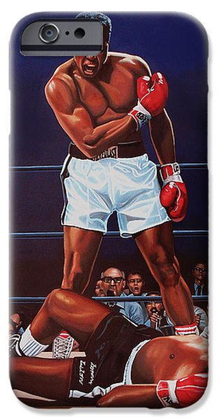 Sport Paintings iPhone Cases - Muhammad Ali versus Sonny Liston iPhone Case by Paul  Meijering