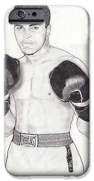 Boxer Digital iPhone Cases - Muhammad Ali iPhone Case by Vincent Turner